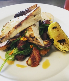 Lemon-and-rosemary-roast-chicken-breast-warm-salad-of-spinach-chorizo-and-roasted-onions-wild-garlic-aioli